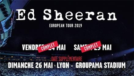 Bon plan A gagner 2 places au concert d'Ed Sheeran du 26 mai 2019 pour 1 commande Adidas / OL de min. 100€
