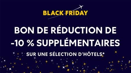 Code promo Black Friday : -50% sur une sélection d'Hôtels + 10% supplémentaires avec code