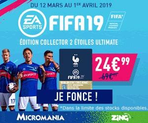 """Bon plan La nouvelle édition collector """"2 Etoiles Ultimate"""" du jeu Fifa19 pour 24,99€ au lieu de 69,99€"""