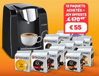 Bon plan Une machine JOY Tassimo GRATUITE à l'achat de 12 paquets + crédit café de 20 € offert