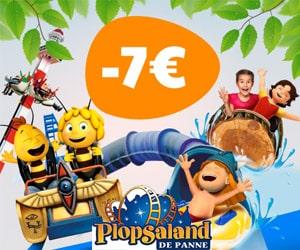 7€ de reduction sur les billets > 1m pour tous les parcs Plopsa